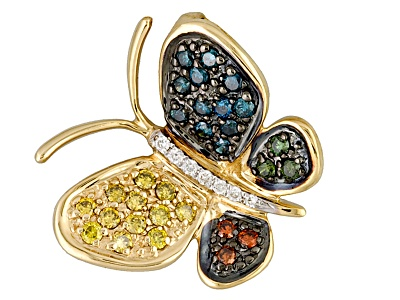 white and multicolor diamond  25ctw round  14k yellow gold butterfly pendant
