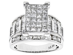 JYR020<br>Diamond 4.00ctw Princess Cut With Round And Baguette 14k White Gold Ring
