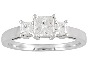 Moissanite Elite(Tm) .95ctw Diamond Equivalent Weight Square Brilliant, 14k White Gold 3 Stone Ring. Actual Moissanite Weight Is .83ctw. Measures 3/16