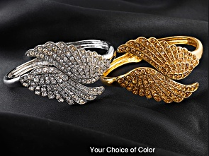 "Off Park Collection, Round Champagne Crystasl Gold Tone Angel Wing Cuff Bracelet. Measurs Approximatey 7""l X 1 15/16""w With A Spring Hinge Closure.<br/><br/>Definitely not off the beaten path...is an exclusive new collection of fine quality costume jewelry found on famous and well known Park Avenue in New York City. The Off Park Collection is every woman's array of a dream collection of costume jewelry?not only is it more affordable, but it also gives you many more fashion options. This collection gives you the variety of style and a level of craftsmanship that you will fall in love with.  Big and Bold and Famous fashion all at a very Affordable Avenue...the Off Park Collection, exclusively at Jewelry Television and JTV.com."