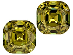 DMC076<br>Namibian Green Dragon Mine Demantoid Garnet Matched Pair Of 4.57ctw 7.5mm Square Cushion