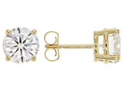 MSJ293<br>Moissanite Fire(R) 2.40ctw Diamond Equivalent Weight Round 14k Yellow Gold Stud Earrings