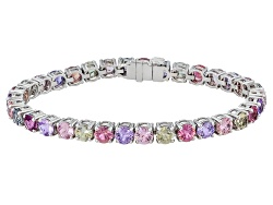 XTG4482<br>Madagascan Purple, Blue, Green, Orange And Pink Sapphire 18.64ctw Rd 18k White Gold Brace