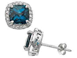 b12d71343cb London Blue Topaz And Synthetic White Sapphire Sterling Silver Stud Earrings
