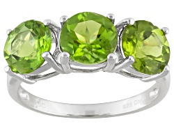 DOCZ728<br>4.00ctw Round Manchurian Peridot(Tm) Sterling Silver 3-stone Ring