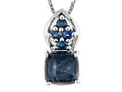 JOH066<br>2.55ct Square Cushion Cabochon Blue Star Sapphire,.31ctw Round Blue Sapphire Silver Pendan