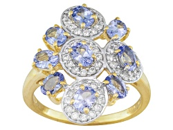 STZ737<br> 1.57ctw Kutamani Tanzanite(Tm),.54ctw White Zircon 18k Gold Over Sterling Silver Ring