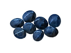 GP6193<br>Blue Star Sapphire Parcel Of 50.00ctw Mm Varies Mixed Oval Cabochon