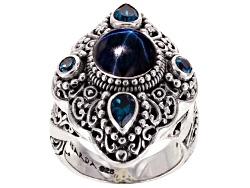 SRA212R<br>Artisan Gem Of Bali(Tm) 3.60ct Blue Star Sapphire, 1.40ctw London And Swiss Blue Topaz Si