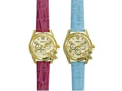 JBW759<br>Embassy Ladies White Crystal Blue And Pink Strap Gold Tone Bow Watch Set Of 2