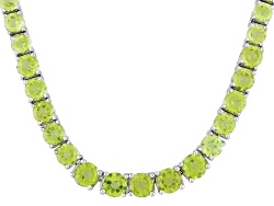 DOCZ971<br>20.42ctw Round Manchurian Peridot Graduated Necklace