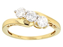 MSN529<br>Moissanite Fire(R) 1.08ctw Dew Round 14k Yellow Gold Over Sterling Silver Ring