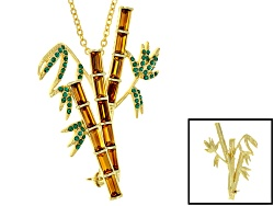 OPJ784<br>Off Park (R) Collection Multicolor Crystal Gold Tone Bamboo Brooch Pendant With Chain