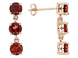 LLS250<br>3.22ctw Round Vermelho Garnet(Tm) 14k Rose Gold 3-stone Dangle Earrings