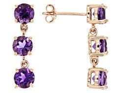 LLS251<br>2.43ctw Round Uruguyan Amethyst 14k Rose Gold 3-stone Dangle Earrings