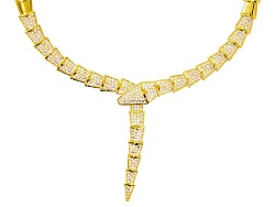 OPJ844N<br>Off Park (R) Collection White Crystal Gold Tone Snake Necklace