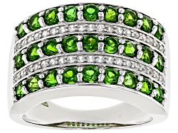 ILH025<br>1.77ctw Round Chrome Diopside With .21ctw White Zircon Sterling Silver Ring