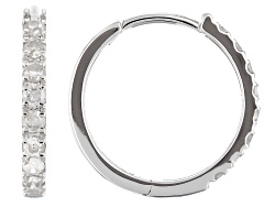 DDG123<br>.50ctw Round Diamonds 10k White Gold Hoop Earrings