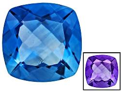 FL080<br>Color Change Blue Fluorite Minimum 8.00ct 12mm Square Cushion Mixed Cut