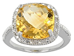 DOCY273<br>5.60ct Square Cushion Citrine With .10ctw Round White Diamonds Sterling Silver Ring