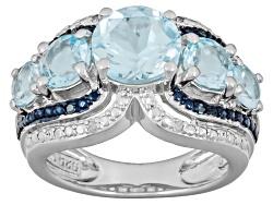 MXH298<br>3.51ctw Glacier Topaz(Tm) With .02ctw Four Blue And .02ctw Four White Diamond Accents Silv