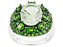 MXH349<br>3.77ct Oval Brazilian Prasiolite With 2.98ctw Russian Chrome Diopside Sterling Silver Ring