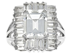 MXH395<br>6.41ctw Emerald Cut And Baguette White Topaz Sterling Silver Ring