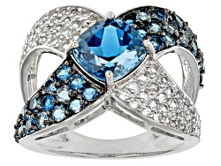 MXH442<br>3.21ctw Square Cushion And Round London Blue Topaz With .65ctw White Topaz Silver Crossove