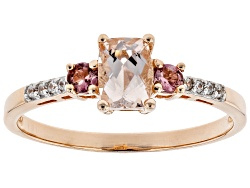 SYF074<br>.68ct Pink Morganite With .24ctw Tourmaline And Zircon 18k Rose Gold Over Silver Ring