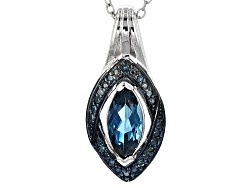 JPH333<br>.85ct Marquise London Blue Topaz,.04ctw Round Blue Diamond Accent Sterling Silver Pendant