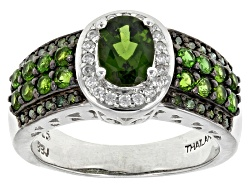 JPH497<br>1.25ctw Oval & Round Chrome Diopside, .12ctw Round White Zircon, .11ctw Green Diamond Silv