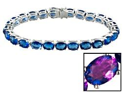 JPH574B<br>23.50ctw Oval Color Change Fluorite Sterling Silver Tennis Bracelet