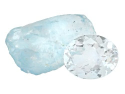 BXS506<br>Brazilian Aquamarine 1.75ct Minimum 10x8mm Oval With 1 Piece Of Free Form Rough