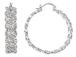 OPJ1005<br>Off Park (R) Collection White Crystal Silver Tone Hoop Earrings