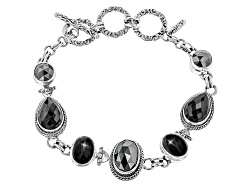 SRA484<br>Artisan Collection Of Bali(Tm) Hematine Doublet, Black Spinel, Black Star Diopside Silver