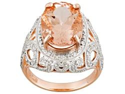 EPG004<br>5.32ct Oval Cor De Rosa(Tm) Morganite And .09ctw Round White Diamond 10k Rose Gold Ring
