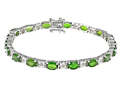 DOCY606<br>8.15ctw Oval Russian Chrome Diopside And .20ctw Round White Diamond Sterling Silver Brace