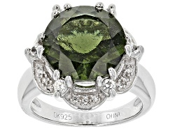 NGH009<br>3.80ct Round Moldavite With .28ctw Round White Zircon Sterling Silver Ring