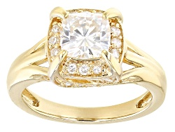 MSN701<br>Moissanite Fire(R) 1.82ctw Diamond Equivalent Weight Round 14k Yellow Gold Over Silver Rin
