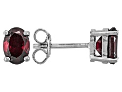 DOCY634<br>2.00ctw Oval Red Zircon Sterling Silver Stud Earrings