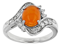 TEH287<br>.85ct Oval Cabochon Orange Ethiopian Opal With .67ctw White Zircon Sterling Silver Ring