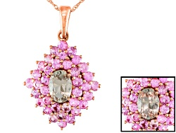 ZUL018<br>.40ct Oval Zultanite(R) And .91ctw Round Pink Sapphire 14k Rose Gold Pendant With Chain