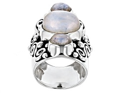 IDA509<br>Artisan Gem Collection Of India, 12x10mm And 7x5mm Oval Rainbow Moonstone Silver 3-stone R