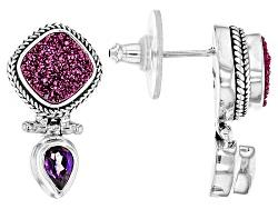 SRA618<br>Artisan Of Bali(Tm) Pink Charmer(Tm) Drusy, Sizzle Magenta(Tm) Mystic Quartz(R) Silver Ear