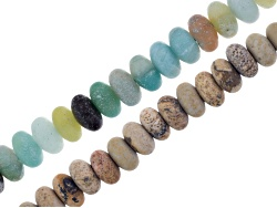 JLW8586<br>Matte Mixed Color Quartzite And Matte Sandstone Rondelle Large Hole Beads Appx 8mm Strand
