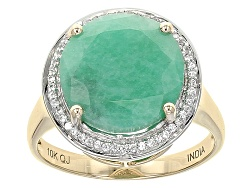 KOT031<br>5.42ct Round Sakota Emerald And .20ctw Round White Zircon 10k Yellow Gold Ring