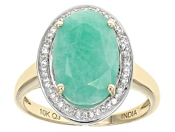 KOT032<br>4.99ct Oval Sakota Emerald And .19ctw Round White Zircon 10k Yellow Gold Ring