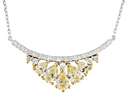 BJO743<br>Bella Luce (R) 3.30ctw Canary & White Diamond Simulant Rhodium Over Sterling Necklace (1.9