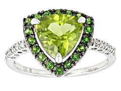 OCH561<br>1.91ct Manchurian Peridot(Tm), .23ctw Russian Chrome Diopside, And .07ctw White Zircon Sil