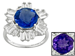 NGH271<br>4.40ct Round Color Change Blue Fluorite With 2.19ctw Baguette White Topaz Sterling Silver